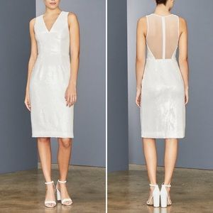 AMSALE • Sleeveless Clear Sequin Sheath Dress